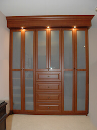Built-in Wardrobe Cabinet, Frosted Glass, Drawers, and Lighting