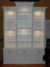 Painted Wood Cabinet, Glass Shelves and Lighting