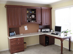Home Office Cocoa Cherry White Countertop